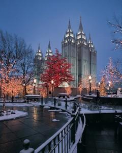 Mormon Temple on Christmas Time