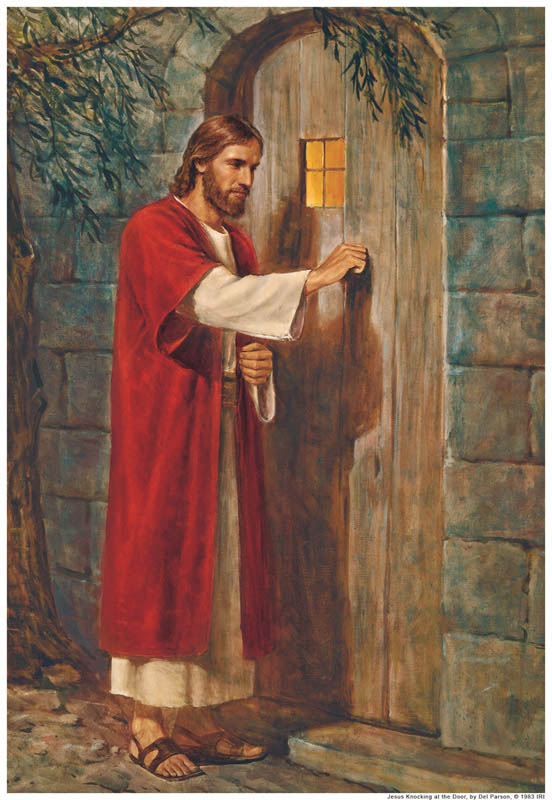 No handle on Jesus' side of the door. We must open our lives to Him.