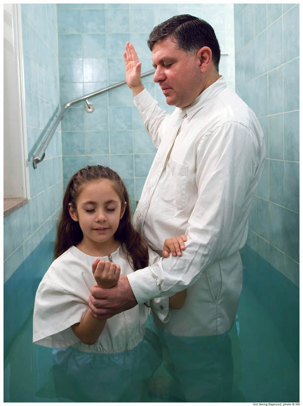 A Mormon girl is baptized
