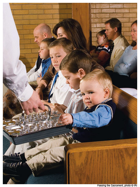 Mormonism is on the rise--a congregation receiving the Sacrament (communion)