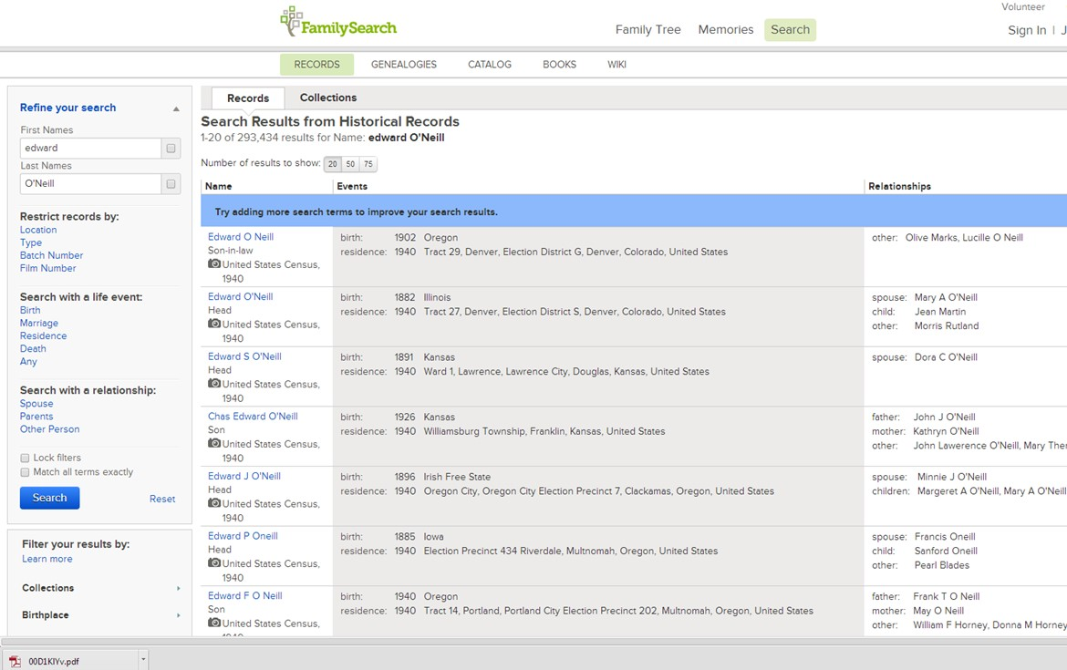 Refined search results on FamilySearch.org