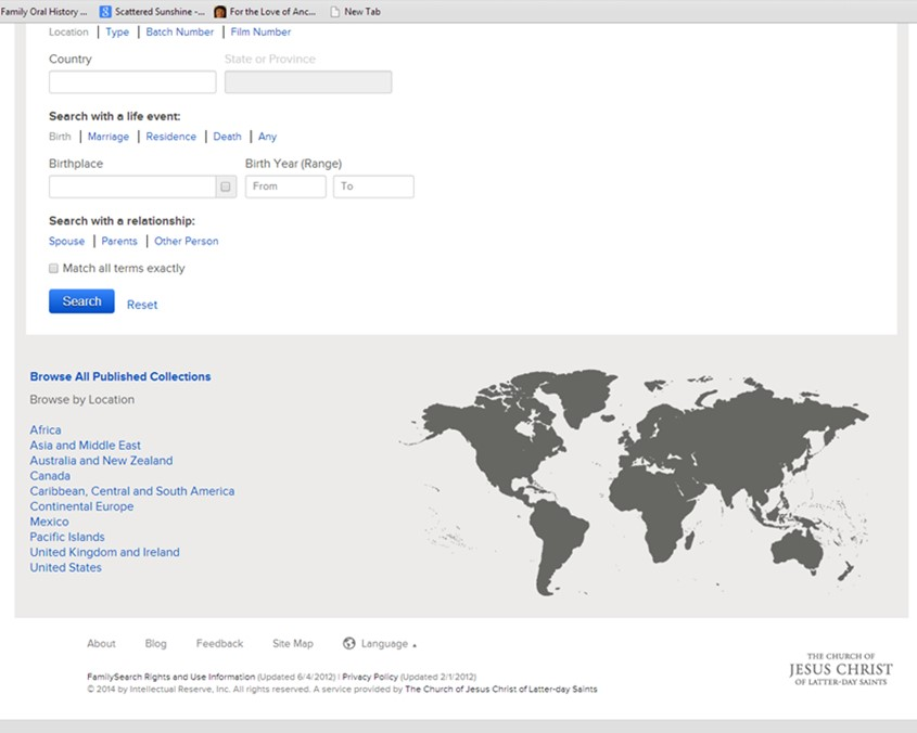 FamilySearch.org screenshot: where to find FHC
