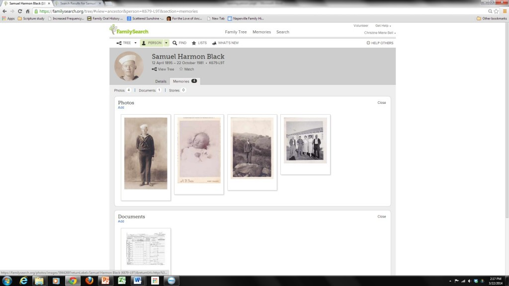 Memories page of Family Search Family Tree
