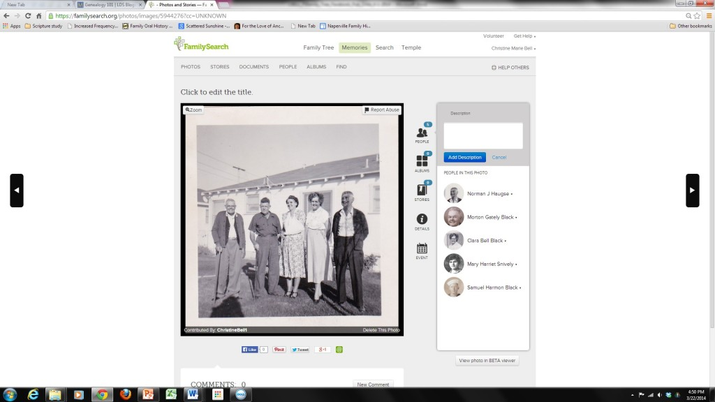photo section in family search family tree