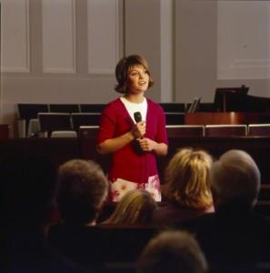 Woman sharing testimony
