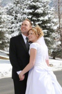Snowy wedding day