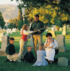 family at cemetery