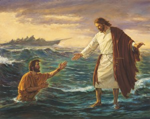 Jesus walking on water and helping Peter