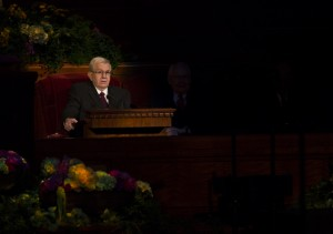 Boyd K. Packer, LDS apostle, speaking at Conference.
