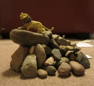 Jane's son created this Pride Rock replica from Lion King.