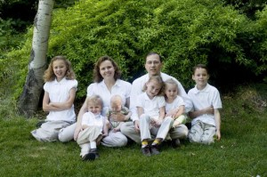 large family in white