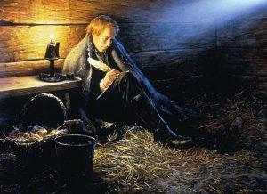 Joseph Smith writing in Liberty Jail