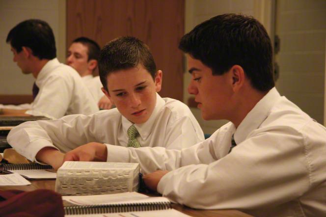 Mormon teens studying together