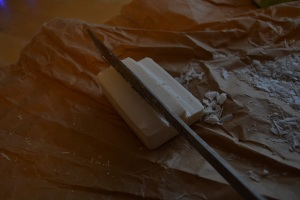 cutting soap to carve