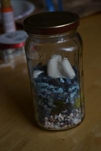 jar with rocks