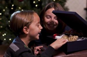 Children opening Christmas box