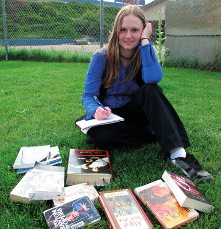 girl with textbooks