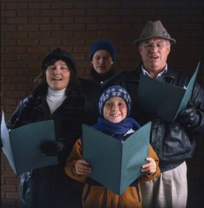 Family Christmas caroling