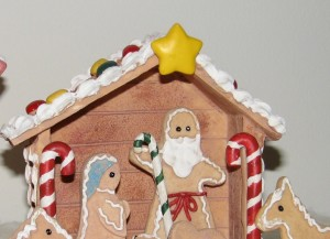 gingerbread house with nativity scene