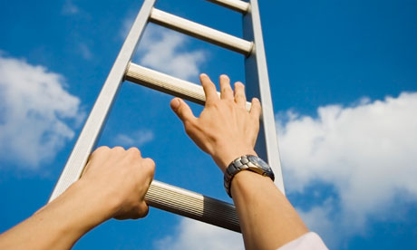 Hands on a ladder climbing to heaven