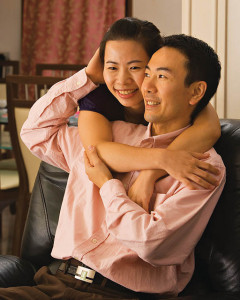 Affectionate Asian couple