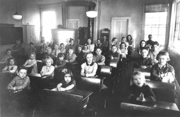 students in old school house