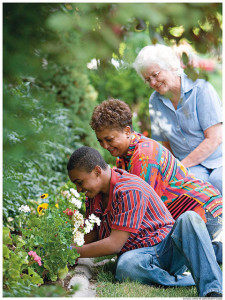 gardening help for elderly woman