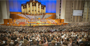Mormons voting at General Conference