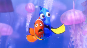 Dory and Marlin among the jellyfish.