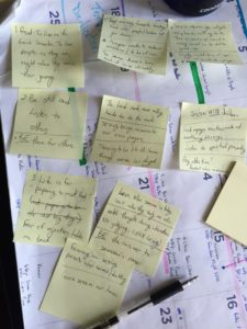 My post it note pile of lessons learned this year as I followed the example of the Good Samaritan.