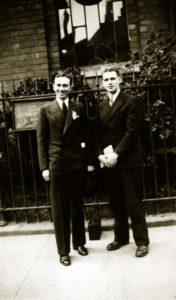 Gordon B. Hinckley and Ormond S. Coulan during their missionary service in England, ca. 1933.