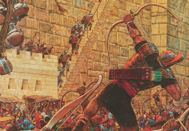 Nephite shooting arrow at Samuel the Lamanite