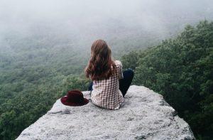 woman nature ponder