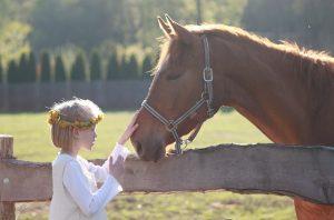 horse little girl flower crown